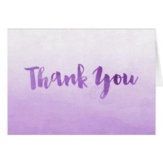 La acuarela púrpura de Ombre le agradece cardar Tarjeta Pequeña