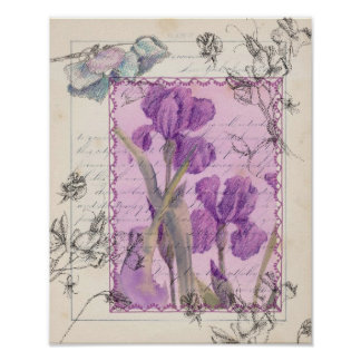 La acuarela púrpura del guisante de olor del iris póster
