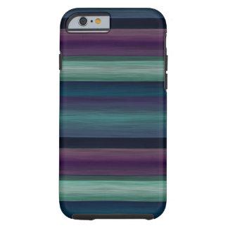 La acuarela púrpura del verde azul del trullo raya funda para iPhone 6 tough