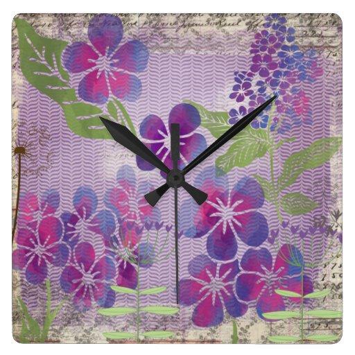 La acuarela púrpura florece el reloj de pared