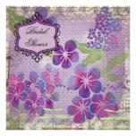 La acuarela púrpura florece la invitación nupcial