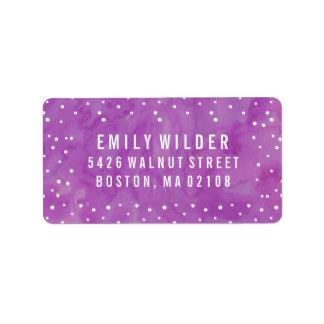 La acuarela púrpura puntea la fiesta de bienvenida etiquetas de dirección