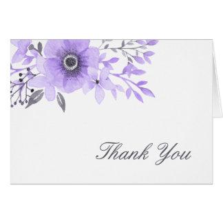 La acuarela púrpura y gris floral le agradece tarjeta pequeña