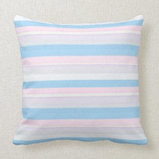 La acuarela raya blanco azul rosado cojín decorativo
