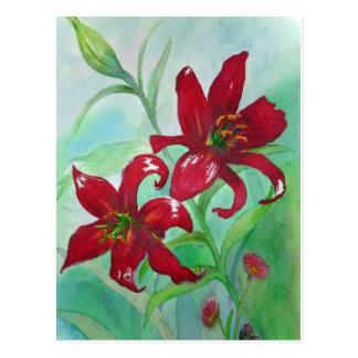 La acuarela roja brillante de la bella arte postal