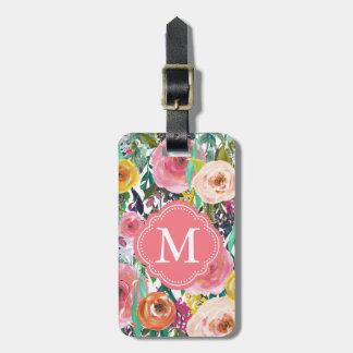 La acuarela romántica del jardín florece el etiquetas para equipaje
