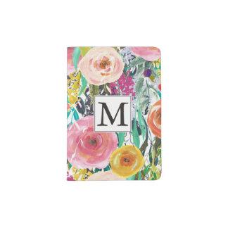 La acuarela romántica del jardín florece el porta pasaporte