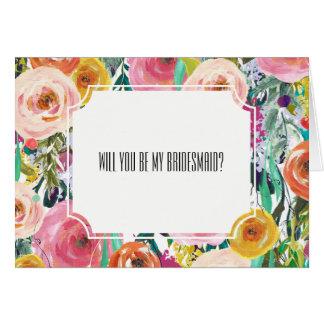 La acuarela romántica florece a la dama de honor tarjeta pequeña