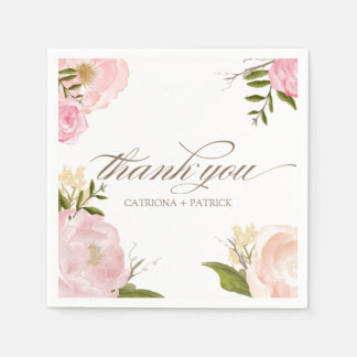 La acuarela romántica florece casando la servilletas de papel