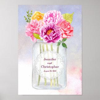 La acuarela romántica florece el boda del tarro de póster