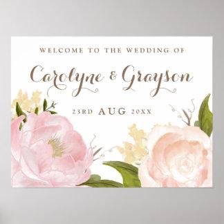 La acuarela romántica florece el signo positivo póster