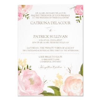 La acuarela romántica florece la invitación IV del