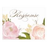 La acuarela romántica florece la postal de RSVP