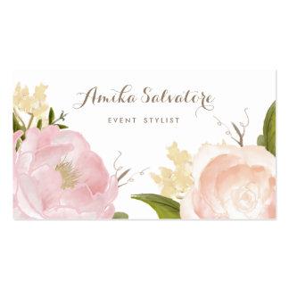 La acuarela romántica florece la tarjeta de visita