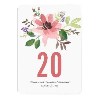 """La acuarela romántica florece número de la tabla invitación 5"""" x 7"""""""