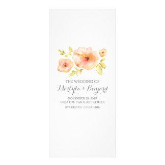 la acuarela romántica florece programas del boda tarjeta publicitaria a todo color