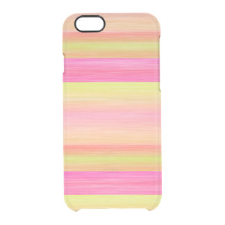 La acuarela rosada amarilla de la cal raya el funda clearly™ deflector para iPhone 6 de uncommon