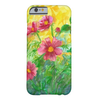 La acuarela rosada del cosmos florece la pintura funda barely there iPhone 6