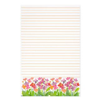 La acuarela rosada florece el naranja alineado papeleria