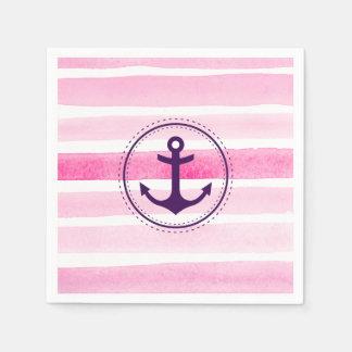La acuarela rosada moderna raya el ancla púrpura servilleta de papel