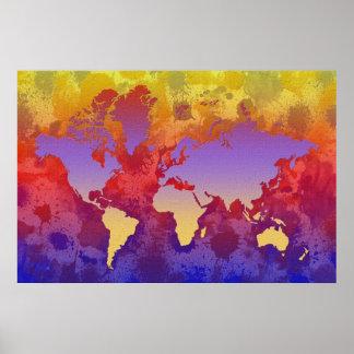 La acuarela salpica el mapa del mundo en lona póster
