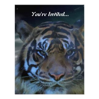 La acuarela salvaje del tigre de Bengala invita Invitaciones Personales