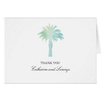 La acuarela serena el | de la palmera le agradece tarjeta pequeña