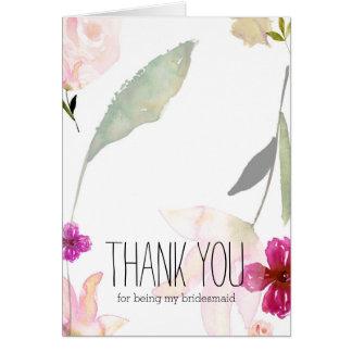 La acuarela tan hermosa floral le agradece tarjeta pequeña