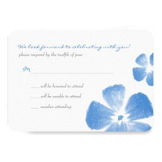 """La acuarela tropical azul florece casando RSVP Invitación 3.5"""" X 5"""""""