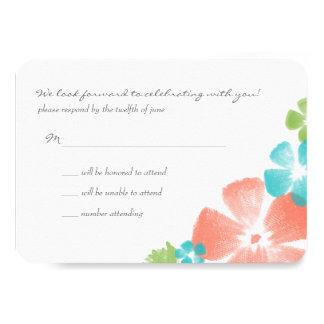 """La acuarela tropical multi florece casando RSVP Invitación 3.5"""" X 5"""""""