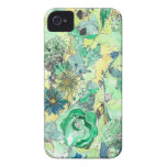 La acuarela verde bosquejada florece caso del iPhone 4 Case-Mate fundas
