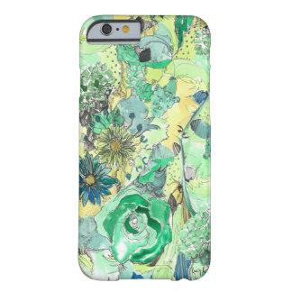 La acuarela verde bosquejada florece caso del funda de iPhone 6 slim