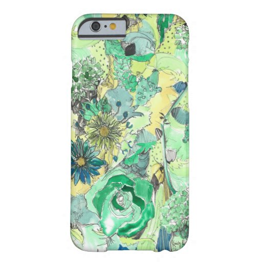 La acuarela verde bosquejada florece caso del funda de iPhone 6 barely there
