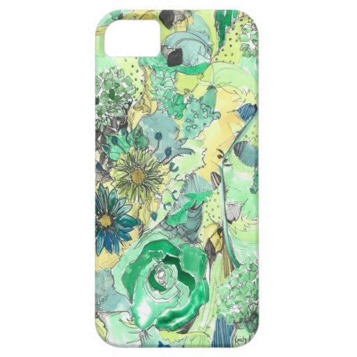 La acuarela verde bosquejada florece caso del iPhone 5 coberturas