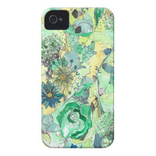 La acuarela verde bosquejada florece caso del iPho iPhone 4 Case-Mate Fundas