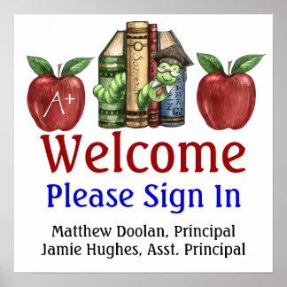 La administración de escuela/firma adentro el post impresiones