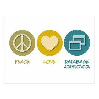 La administración de la base de datos del amor de  tarjetas postales