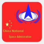 La administración nacional del espacio de China - Pegatina Cuadrada