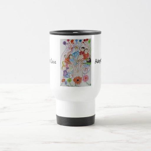 La adopción de la taza del viaje es ilustraciones
