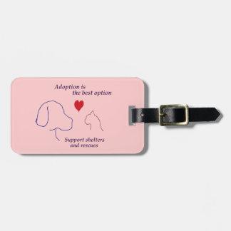 La adopción es la mejor opción etiqueta para equipaje