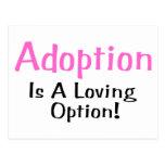 La adopción es una opción cariñosa (el rosa) postal