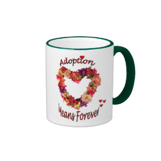 La adopción significa para siempre la taza de café
