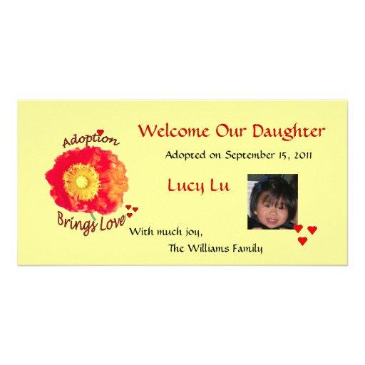 La adopción trae la tarjeta de la foto del amor tarjeta con foto personalizada