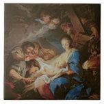 La adoración de los pastores (aceite en lona) 2 azulejo ceramica
