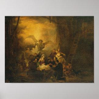 La adoración de los pastores, c.1650 impresiones