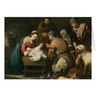 La adoración de los pastores, c.1650 tarjeta de felicitación
