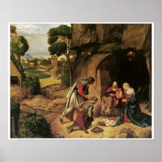 La adoración de los pastores, Giorgione Posters
