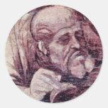 La adoración de los tres reyes Detail By Leonard Etiquetas Redondas