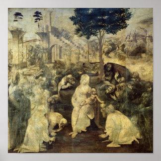 La adoración de unos de los reyes magos, 1481-2 póster