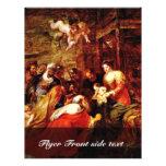 La adoración de unos de los reyes magos, adoración tarjeta publicitaria